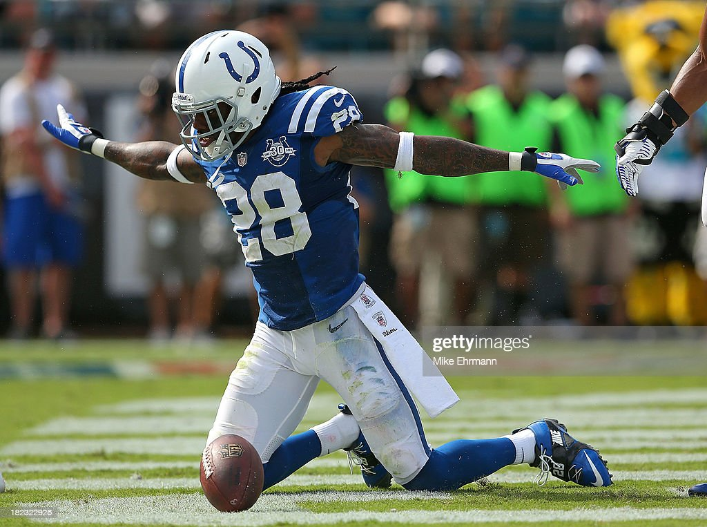 <a gi-track='captionPersonalityLinkClicked' href=/galleries/search?phrase=Greg+Toler&family=editorial&specificpeople=5838089 ng-click='$event.stopPropagation()'>Greg Toler</a> #28 of the Indianapolis Colts reacts to stopping a touchdown during a game against the Jacksonville Jaguars at EverBank Field on September 29, 2013 in Jacksonville, Florida.