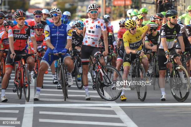 Greg VAN AVERMAET Marcel KITTEL Warren BARGUIL Christopher FROOME and Mark CAVENDISH at the start to 589km Main Race during the 5th edition of TDF...