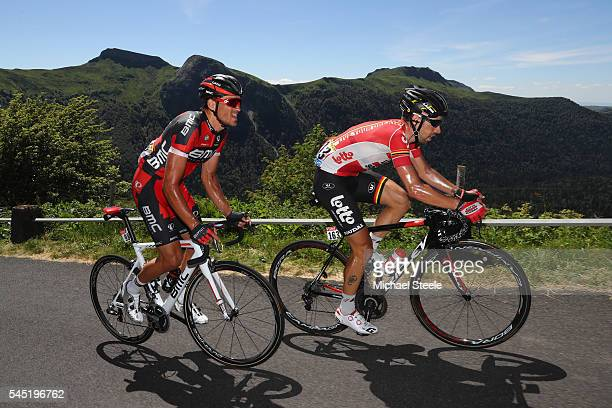 Greg Van Avermaet of Belgium and BMC Racing alongside Thomas De Gendt of Belgium and Lotto Soudal heads over the Pas de Peyroi on his way to the...