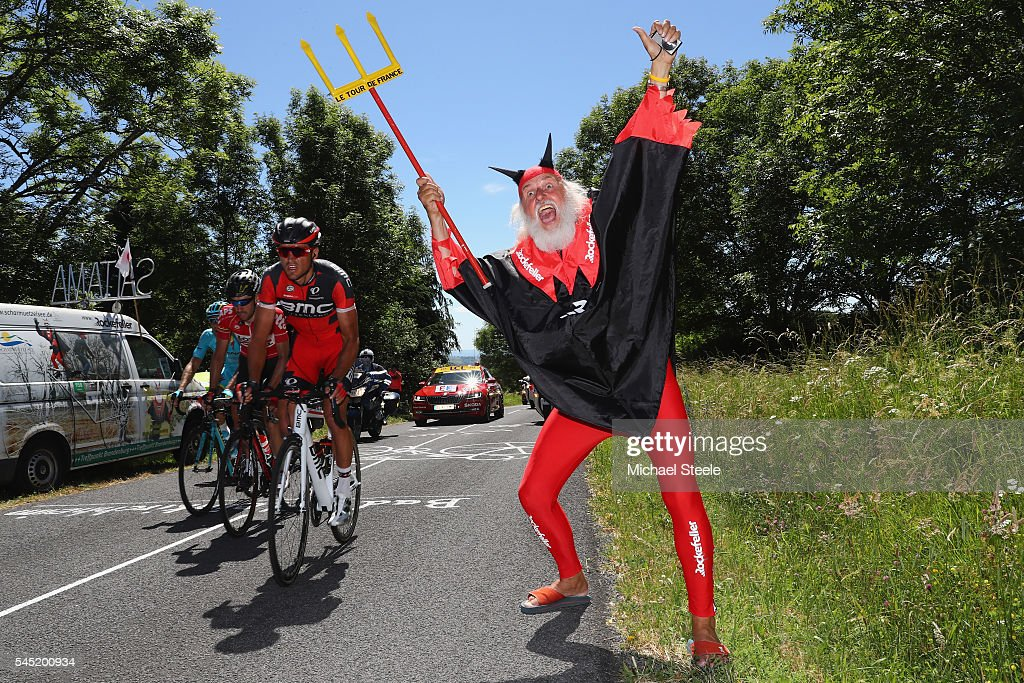 Greg Van Avermaet (L) of Belgium and BMC Racing heads past Didi 'The Devil' Senft on his way to the stage victory during the 216km stage five of Le Tour de France from Limoges to Le Lioran on July 6, 2016 in Limoges, France.