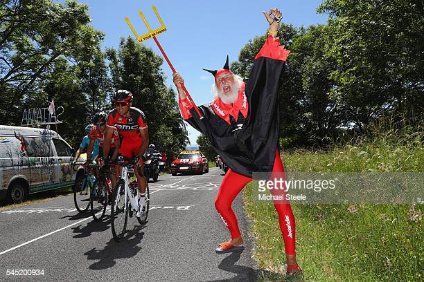 Greg Van Avermaet of Belgium and BMC Racing heads past Didi 'The Devil' Senft on his way to the stage victory during the 216km stage five of Le Tour...