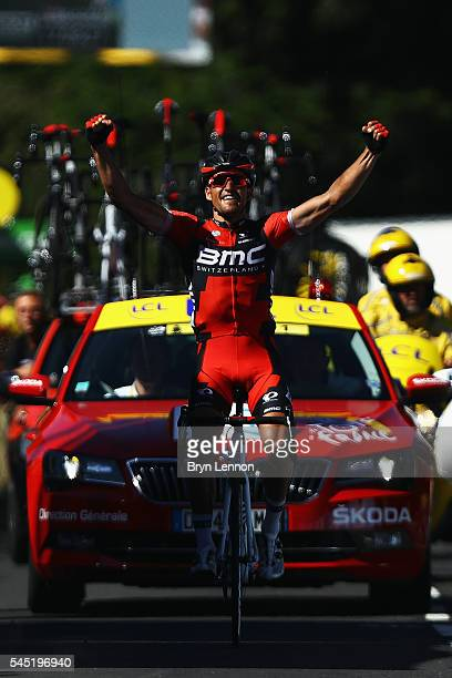 Greg Van Avermaet of Belgium and BMC Racing Team celebrates winning stage five and also taking the race lead in the 2016 Tour de France a 216km road...