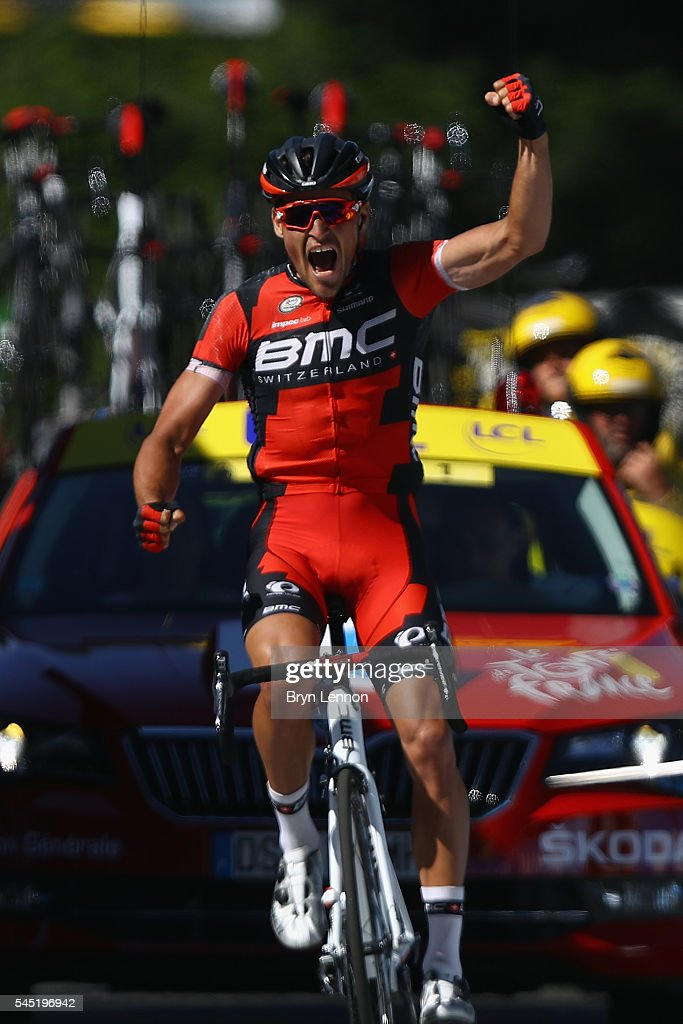 Greg Van Avermaet of Belgium and BMC Racing Team celebrates winning stage five and also taking the race lead in the 2016 Tour de France, a 216km road stage from Limoges to Le Lioran, on July 6, 2016 in Le Lioran, France.