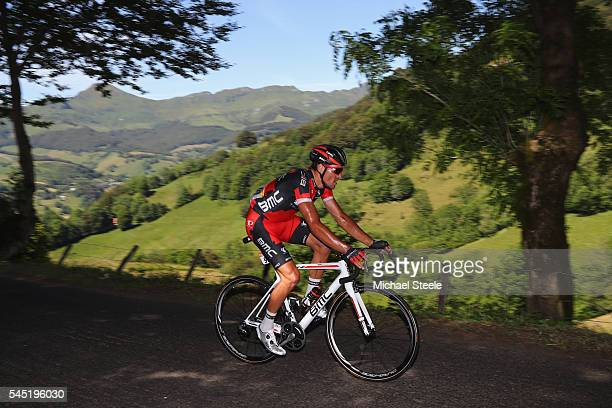 Greg Van Avermaet of Belgium and BMC Racing Team heads over the Col du Perthus on his way to the stage victory during the 216km stage five of Le Tour...