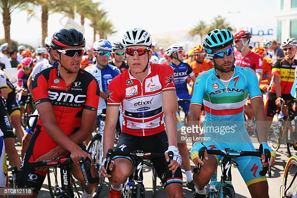 Greg Van Avermaet of Belgium and the BMC Racing Team Race leader Bob Jungels of Luxembourg and EtixxQuick Step and Vincenzo Nibali of Italy and the...