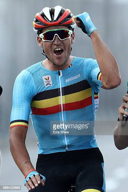 Greg van Avermaet of Belgium celebrates winning the gold medal in the Men's Road Race on Day 1 of the Rio 2016 Olympic Games at the Fort Copacabana...