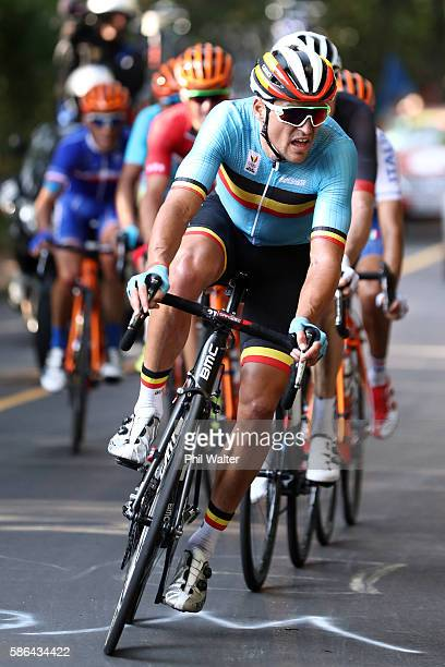 Greg van Avermaet of Belgium leads the peloton in the Men's Road Race on Day 1 of the Rio 2016 Olympic Games at the Fort Copacabana on August 6 2016...