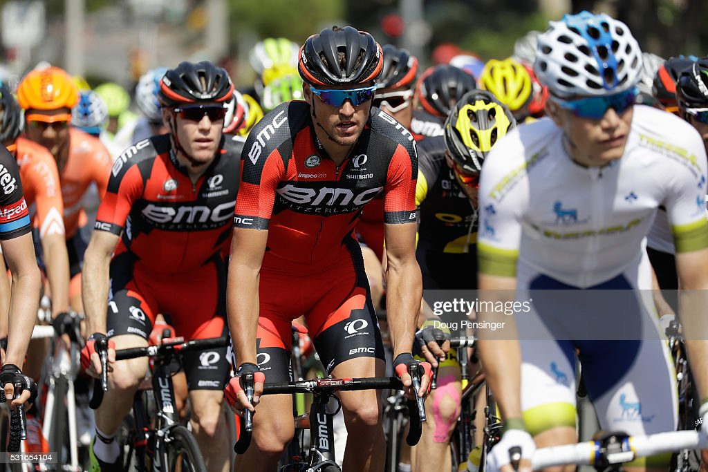 <a gi-track='captionPersonalityLinkClicked' href=/galleries/search?phrase=Greg+Van+Avermaet&family=editorial&specificpeople=4485333 ng-click='$event.stopPropagation()'>Greg Van Avermaet</a> (C) of Belgium riding for BMC Racing rides in the peloton ahead of his teammate <a gi-track='captionPersonalityLinkClicked' href=/galleries/search?phrase=Brent+Bookwalter&family=editorial&specificpeople=6931494 ng-click='$event.stopPropagation()'>Brent Bookwalter</a> (L) of the United States during stage one of the 2016 Amgen Tour of California on May 15, 2016 in San Diego, California.