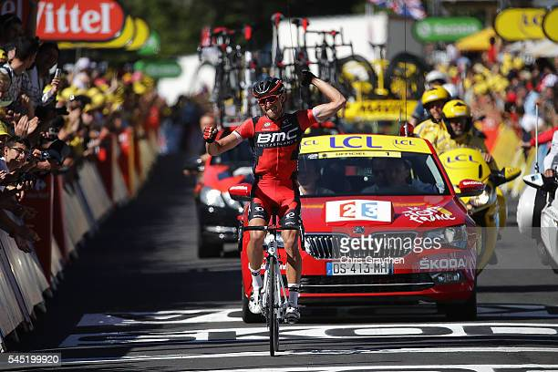 Greg Van Avermaet of Belgium riding for BMC Racing Team celebrates as he wins stage five of the 2016 Le Tour de France a 216km stage from Limoges to...