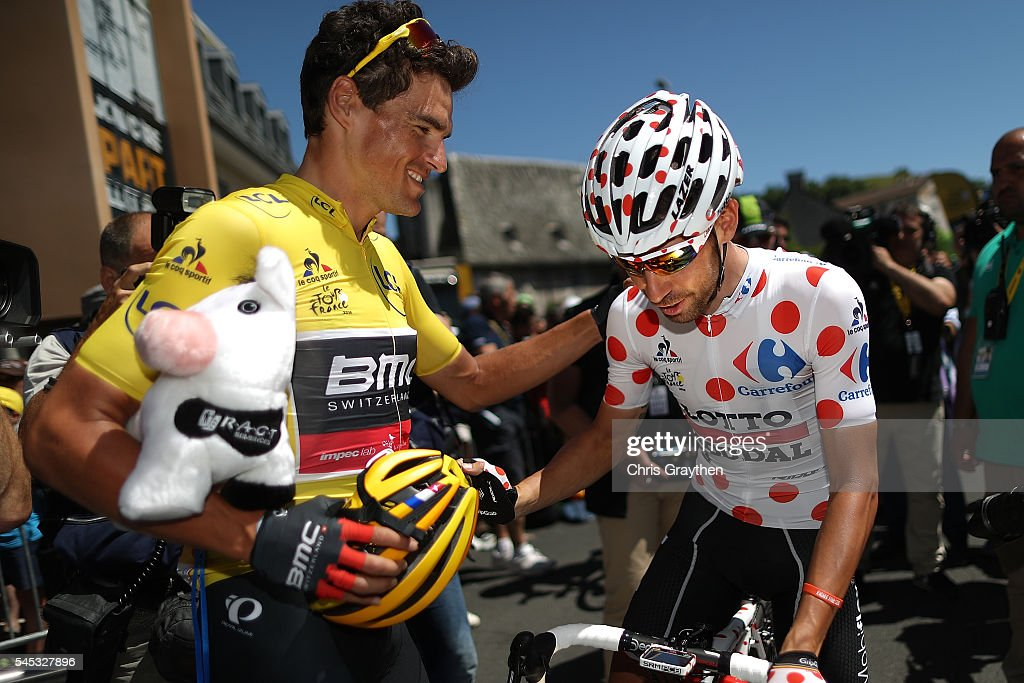 Greg Van Avermaet of Belgium riding for BMC Racing Team in the leader's jersey talks with Thomas De Gendt of Belgium riding for Lotto Soudal in the...
