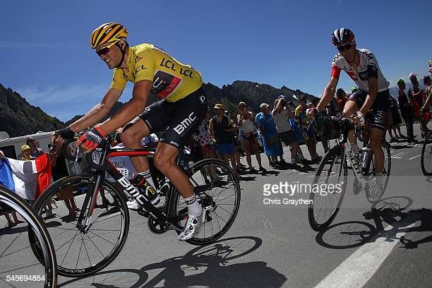 Greg Van Avermaet of Belgium riding for BMC Racing Team in the leader's jersey rides up the Col du Tourmalet during stage eight of the 2016 Le Tour...