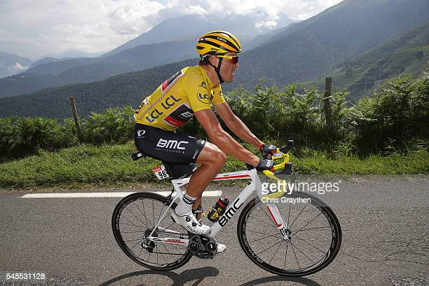 Greg Van Avermaet of Belgium riding for BMC Racing Team rides up the Col d'Aspin during stage seven of the 2016 Le Tour de France a 1625km stage from...