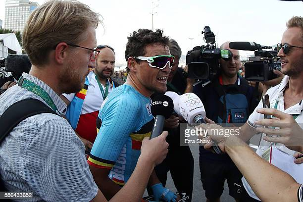 Greg van Avermaet of Belgium speaks to media after winning the gold medal in the Men's Road Race on Day 1 of the Rio 2016 Olympic Games at the Fort...
