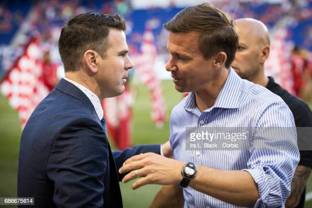 Greg Vanney Head Coach of the Toronto FC greets Jesse Marsch Head coach of the NY Red Bulls prior to the Toronto FC vs New York Red Bulls MLS match...