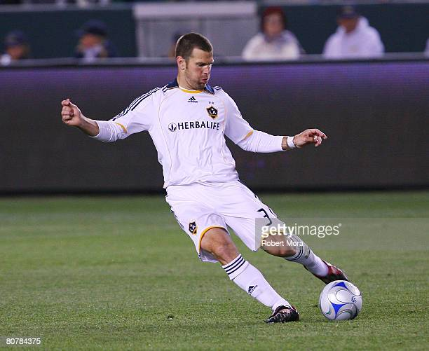 Greg Vanney of the Los Angeles Galaxy controls the ball during their MLS game vs the Houston Dynamo on April 19 2008 in Carson California