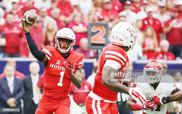 Greg Ward Jr #1 of the Houston Cougars drops back to pass in the first half of their game against the Oklahoma Sooners during the Advocare Texas...