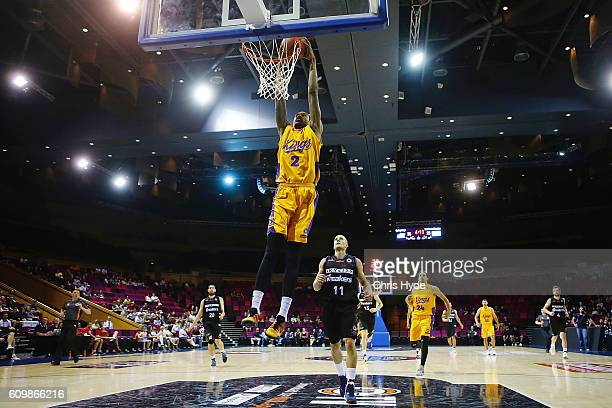 Greg Whittington of the Kings dunks during the Australian Basketball Challenge match between Sydney Kings and New Zealand Breakers on September 23...
