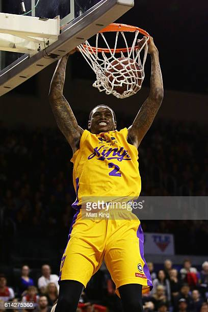Greg Whittington of the Kings dunks off an alley oop during the round two NBL match between the Illawarra Hawks and the Sydney Kings at the...