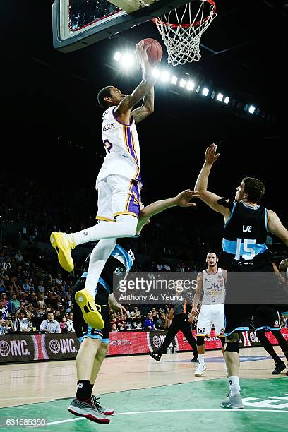 Greg Whittington of the Kings goes up to the hoop during the round 15 NBL match between the New Zealand Breakers and the Sydney Kings at Vector Arena...