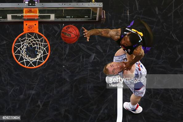 Greg Whittington of the Kings is fouled by Brendan Teys of the 36ers during the round eight NBL match between the Sydney Kings and the Adelaide 36ers...