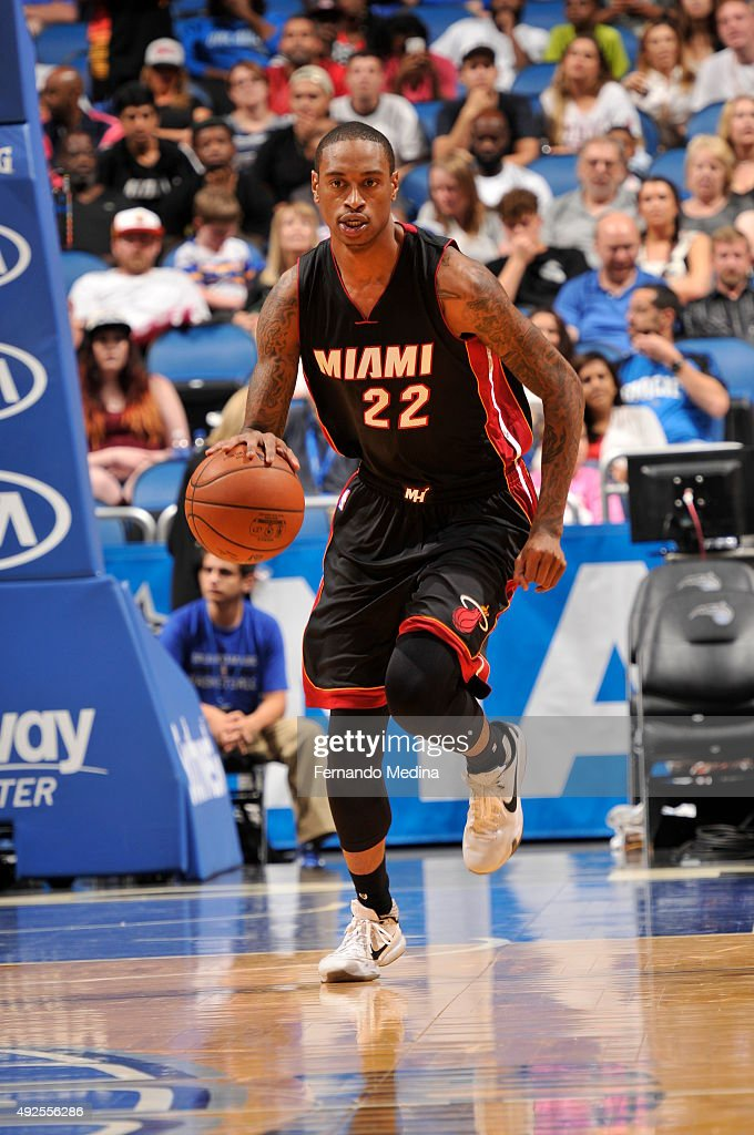 <a gi-track='captionPersonalityLinkClicked' href=/galleries/search?phrase=Greg+Whittington&family=editorial&specificpeople=7636075 ng-click='$event.stopPropagation()'>Greg Whittington</a> #22 of the Miami Heat drives to the basket against the Orlando Magic during a preseason game on October 13, 2015 at Amway Center in Orlando, Florida.