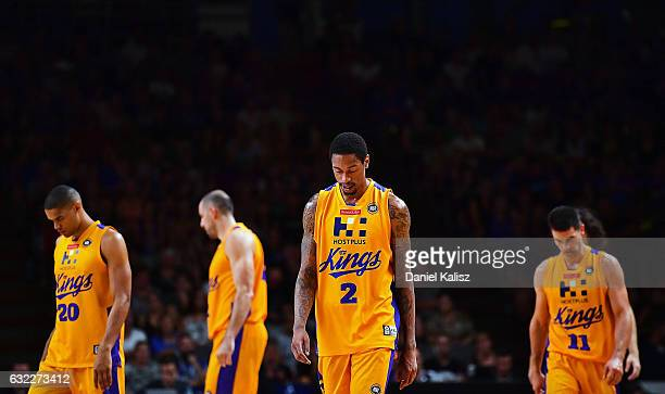 Greg Whittington of the Sydney Kings and his team mates walk off dejected during the round 16 NBL match between the Adelaide 36ers and the Sydney...