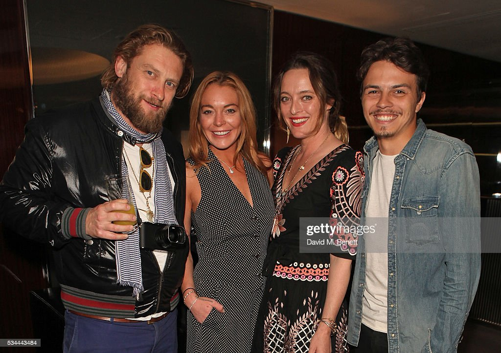 Greg Williams, <a gi-track='captionPersonalityLinkClicked' href=/galleries/search?phrase=Lindsay+Lohan&family=editorial&specificpeople=171623 ng-click='$event.stopPropagation()'>Lindsay Lohan</a>, Alice Temperley and <a gi-track='captionPersonalityLinkClicked' href=/galleries/search?phrase=Egor+Tarabasov&family=editorial&specificpeople=15630738 ng-click='$event.stopPropagation()'>Egor Tarabasov</a> attend a private screening with Alice Temperley of Disney's Alice Through The Looking Glass at the Bulgari Hotel on May 26, 2016 in London, England.