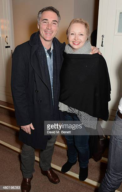 Greg Wise and sister Claire Wise attend the 1000th performance of 'Matilda The Musical' in the West End at the Cambridge Theatre on March 23 2014 in...