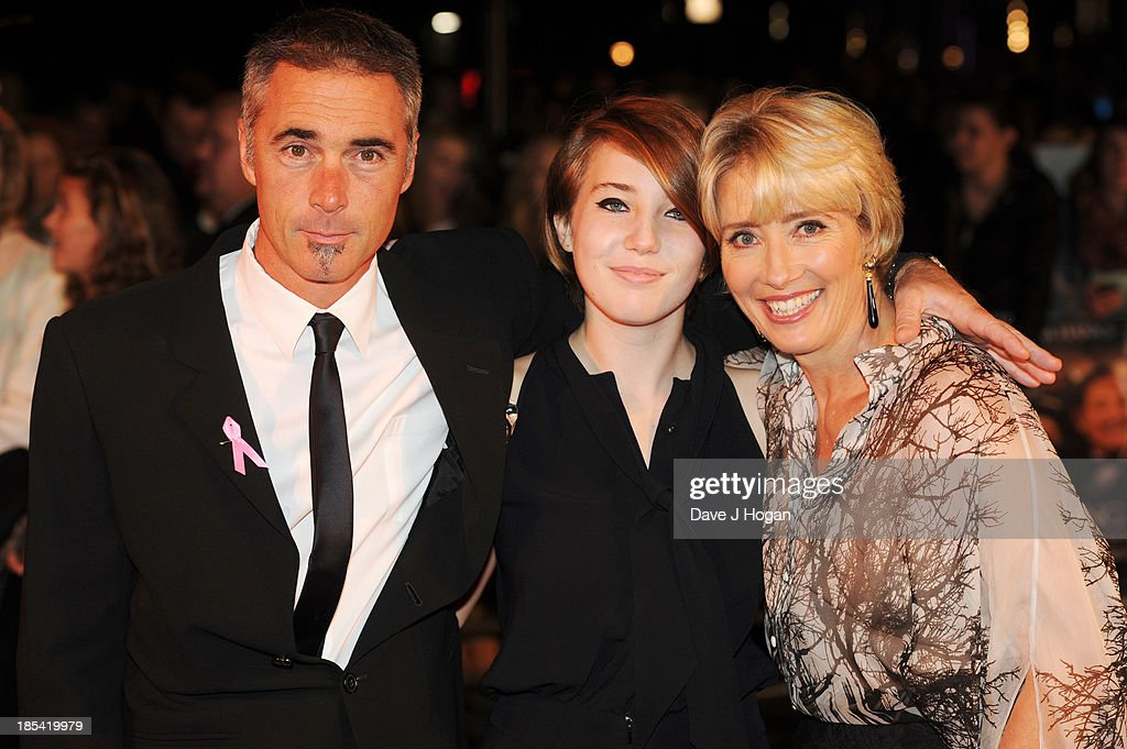 <a gi-track='captionPersonalityLinkClicked' href=/galleries/search?phrase=Greg+Wise&family=editorial&specificpeople=243195 ng-click='$event.stopPropagation()'>Greg Wise</a>, Gaia Romilly Wise and <a gi-track='captionPersonalityLinkClicked' href=/galleries/search?phrase=Emma+Thompson&family=editorial&specificpeople=202848 ng-click='$event.stopPropagation()'>Emma Thompson</a> attend the Closing Night Gala European Premiere of 'Saving Mr Banks' on the closing night gala during the 57th BFI London Film Festival at The Odeon Leicester Square on October 20, 2013 in London, England.
