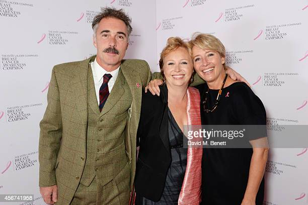 Greg Wise sister Claire Wise and Emma Thompson attend the launch of The Estee Lauder Companies' UK Breast Cancer Awareness Campaign 2014 'Hear Our...