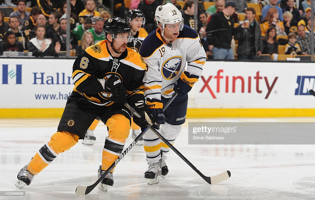 <a gi-track='captionPersonalityLinkClicked' href=/galleries/search?phrase=Greg+Zanon&family=editorial&specificpeople=567162 ng-click='$event.stopPropagation()'>Greg Zanon</a> #6 of the Boston Bruins watches the play against <a gi-track='captionPersonalityLinkClicked' href=/galleries/search?phrase=Cody+Hodgson&family=editorial&specificpeople=4151192 ng-click='$event.stopPropagation()'>Cody Hodgson</a> #19 of the Buffalo Sabres at the TD Garden on April 7, 2012 in Boston, Massachusetts.