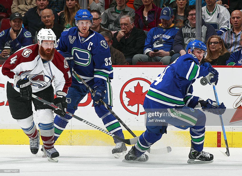<a gi-track='captionPersonalityLinkClicked' href=/galleries/search?phrase=Greg+Zanon&family=editorial&specificpeople=567162 ng-click='$event.stopPropagation()'>Greg Zanon</a> #4 of the Colorado Avalanche and <a gi-track='captionPersonalityLinkClicked' href=/galleries/search?phrase=Henrik+Sedin&family=editorial&specificpeople=202574 ng-click='$event.stopPropagation()'>Henrik Sedin</a> #33 of the Vancouver Canucks watch as <a gi-track='captionPersonalityLinkClicked' href=/galleries/search?phrase=Alexandre+Burrows&family=editorial&specificpeople=592489 ng-click='$event.stopPropagation()'>Alexandre Burrows</a> #14 of the Canucks plays the puck during an NHL game at Rogers Arena March 28, 2013 in Vancouver, British Columbia, Canada. Vancouver won 4-1.