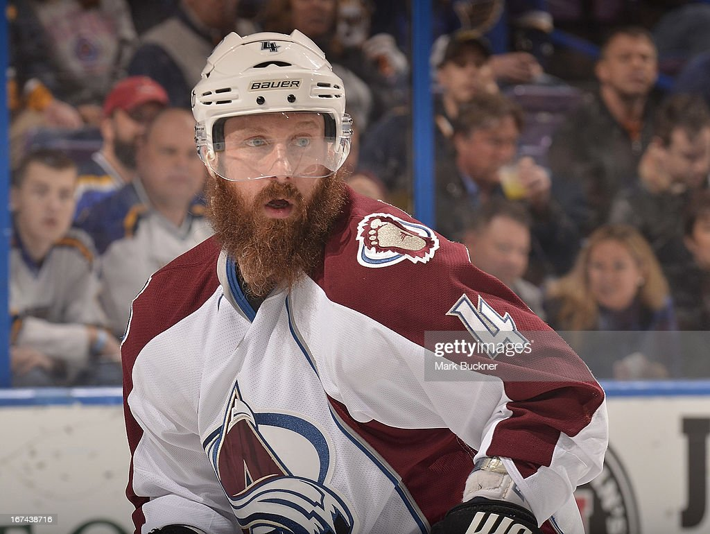 <a gi-track='captionPersonalityLinkClicked' href=/galleries/search?phrase=Greg+Zanon&family=editorial&specificpeople=567162 ng-click='$event.stopPropagation()'>Greg Zanon</a> #4 of the Colorado Avalanche skates against the St. Louis Blues in an NHL game on April 23, 2013 at Scottrade Center in St. Louis, Missouri.