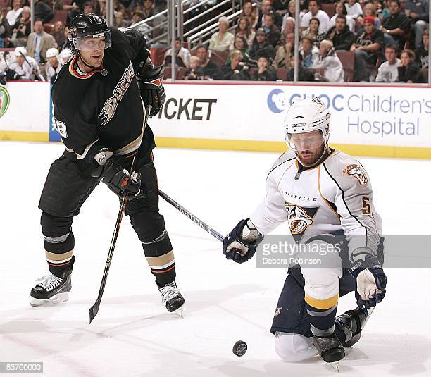 Greg Zanon of the Nashville Predators defends against Teemu Selanne of the Anaheim Ducks during the game on November 14 2008 at Honda Center in...