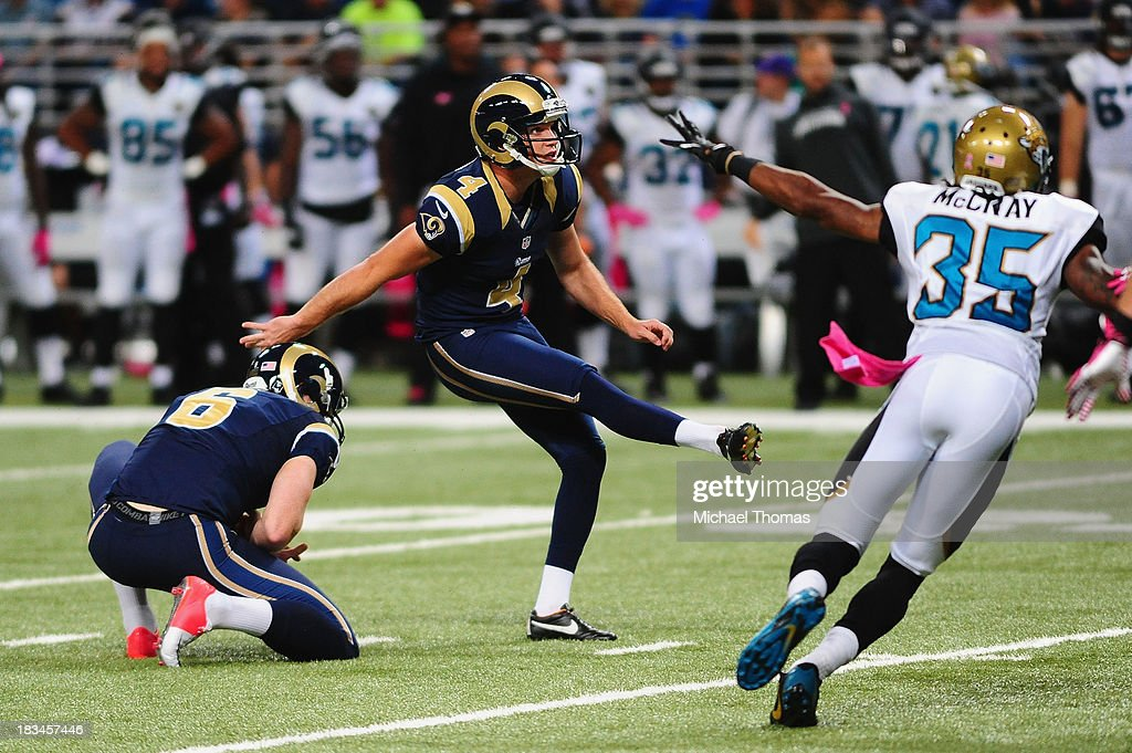 <a gi-track='captionPersonalityLinkClicked' href=/galleries/search?phrase=Greg+Zuerlein&family=editorial&specificpeople=6471802 ng-click='$event.stopPropagation()'>Greg Zuerlein</a> #4 of the St. Louis Rams kicks a 37 yard field goal against the Jacksonville Jaguars at the Edward Jones Dome on October 6, 2013 in St. Louis, Missouri.