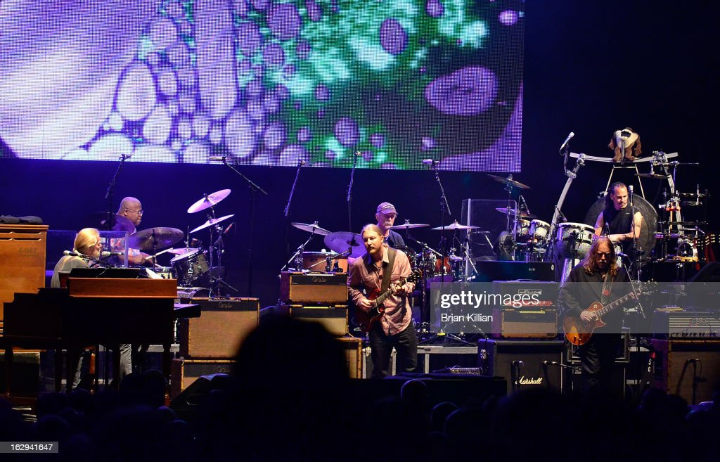 Gregg Allman and guitarists Derek Trucks and Warren Haynes of the Allman Brothers Band perform at Beacon Theatre on March 1, 2013 in New York City.