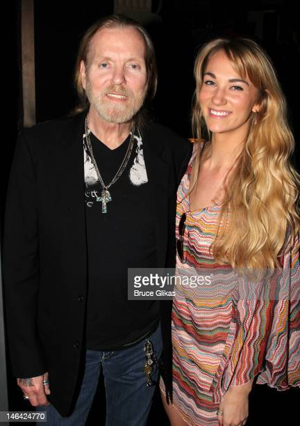Gregg Allman and his fiancee Shannon Williams pose backstage at the hit musical 'Jesus Christ Superstar' on Broadway at The Neil Simon Theater on...