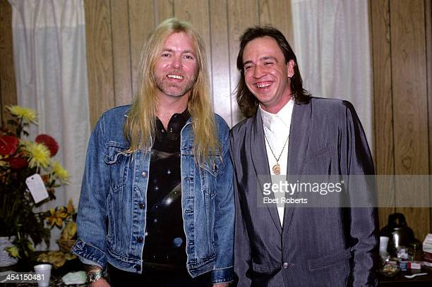 Gregg Allman and Stevie Ray Vaughan backstage at The Pier in New York City on August 15 1987