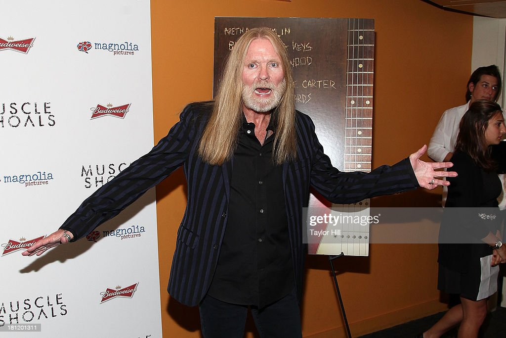 <a gi-track='captionPersonalityLinkClicked' href=/galleries/search?phrase=Gregg+Allman&family=editorial&specificpeople=741073 ng-click='$event.stopPropagation()'>Gregg Allman</a> attends the 'Muscle Shoals' New York screening at Landmark Sunshine Cinemas on September 19, 2013 in New York City.