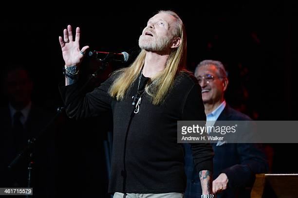 Gregg Allman speaks during All My Friends Celebrating the Songs Voice of Gregg Allman at The Fox Theatre on January 10 2014 in Atlanta Georgia