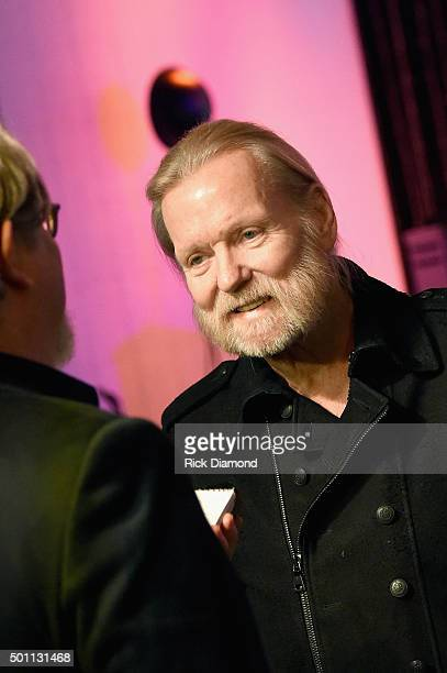Gregg Allman speaks to the press before the Skyville Live USA TODAY Presents A Salute to Gregg Allman on December 11 2015 in Nashville Tennessee