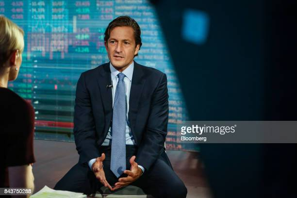 Gregg Lemkau cohead of investment banking for Goldman Sachs Co speaks during a Bloomberg Television interview in New York US on Thursday Sept 7 2017...