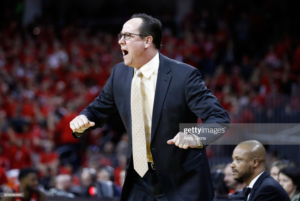 Gregg Marshall the head coach of the Witchita State Shockers gives instructions to his team during the 76-72 win over the Cincinnati Bearcats at BB&T Arena on February 18, 2018 in Highland Heights, Kentucky.