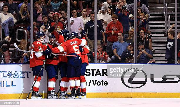 Gregg McKegg of the Florida Panthers celebrates a goal during a game against the Winnipeg Jets at BBT Center on January 4 2017 in Sunrise Florida