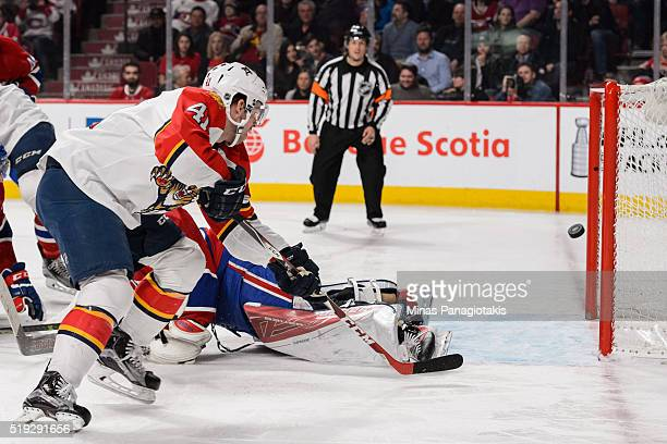 Gregg McKegg of the Florida Panthers scores in the third period during the NHL game against the Montreal Canadiens at the Bell Centre on April 5 2016...
