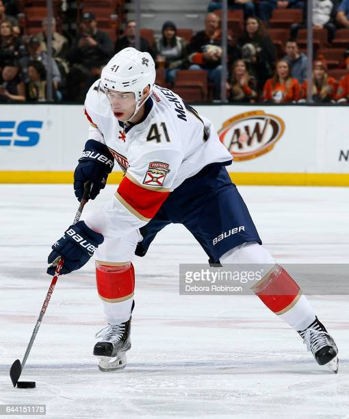 Gregg McKegg of the Florida Panthers skates with the puck during the game against the Anaheim Ducks on February 17 2017 at Honda Center in Anaheim...