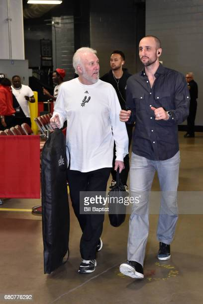 Gregg Popovich and Manu Ginobili of the San Antonio Spurs arrives at the arena before Game Four of the Western Conference Semifinals against the...