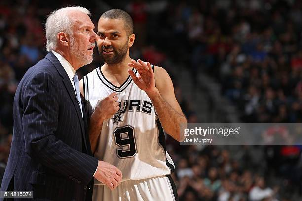 Gregg Popovich and Tony Parker of the San Antonio Spurs talk during the game against the Chicago Bulls on March 10 2016 at the ATT Center in San...