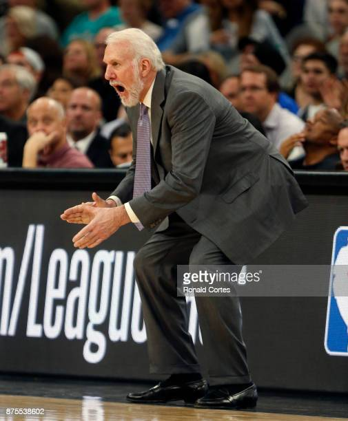 Gregg Popovich head coach of the San Antonio Spurs cheers on his team during game against the Oklahoma City Thunder at ATT Center on November 17 2017...