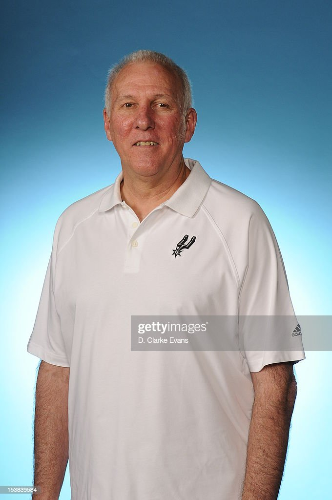 <a gi-track='captionPersonalityLinkClicked' href=/galleries/search?phrase=Gregg+Popovich&family=editorial&specificpeople=202904 ng-click='$event.stopPropagation()'>Gregg Popovich</a> head coach of the San Antonio Spurs poses for a photo during Media Day at the Spurs Practice Facility on October 1, 2012 in San Antonio, Texas.